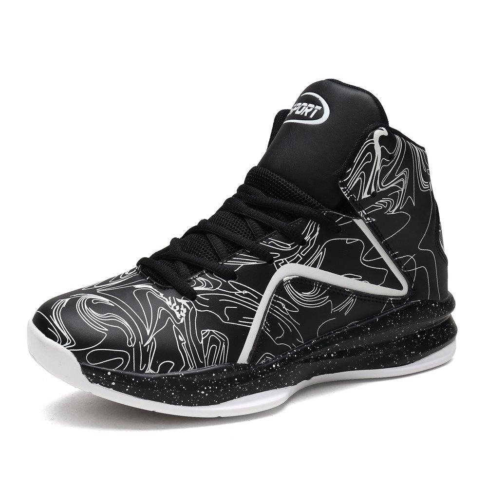 LANSEYAOJI Hombre Zapatillas de Baloncesto Calzado Deportivo Al Aire Libre Moda High-Top Sneaker Antideslizante Zapatillas de Deporte Ligeros Zapatos para Correr Transpirable Lace Up