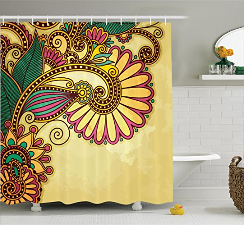 Ambesonne Grunge Home Decor Shower Curtain Set, Paisley Flower and Leaf Design with Ethnic Zen Floral Mandala Oriental Pattern Effects, Bathroom Accessories, 75 Inches Long, Multi