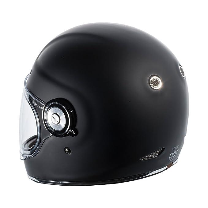 Amazon.com: TORC Unisex-Adult T11525 Retro Fiberglass Full-Face Style Motorcycle Helmet (Matte Black, X-Large), 1 Pack: Automotive