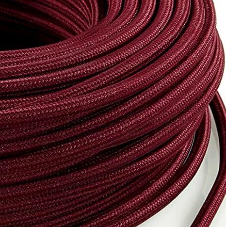 abat jour C/âble /électrique en tissu rond Rond Style Vintage avec rev/êtement color/é Rouge Bordeaux bord H03VV-F section 3/x 0,75/pour lustres lampes Fabriqu/é en Italie Design