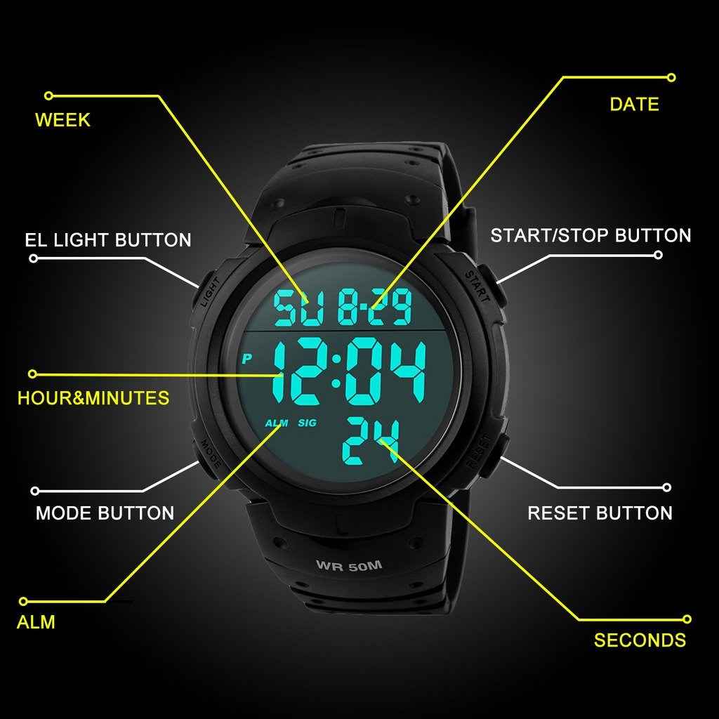 SEEWTA Mens Digital Sport Watch 50M Waterproof Outdoor Alarm Stopwatch Electronic LED Military Wrist Watches