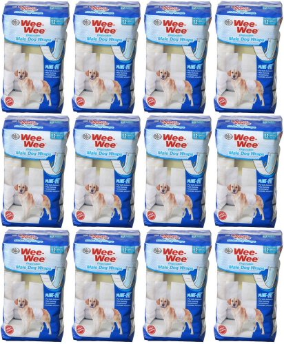 Four Paws Wee-Wee Disposable Male Dog Wraps, Medium/Large 144ct (12 x 12ct) by Four Paws