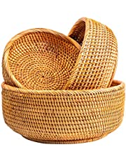 NATURALNEO Wicker Food Fruit Serving Baskets (3-Size Kit)