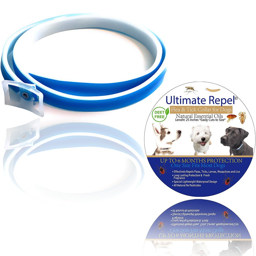 FLEA Collars for Dogs- Pets Flea and Tick Collar, Flea and Tick Prevention Collar for Dogs, Pest Control Collars, Natural Treatment, SAFE Protection, WATERPROOF Defense, Blue by Ultimate Repel