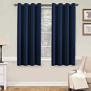 H.Versailtex Premium Blackout Thermal Insulated Innovated Microfiber Home Fashion Window Curtains for Bedroom,Antique Grommet ,52