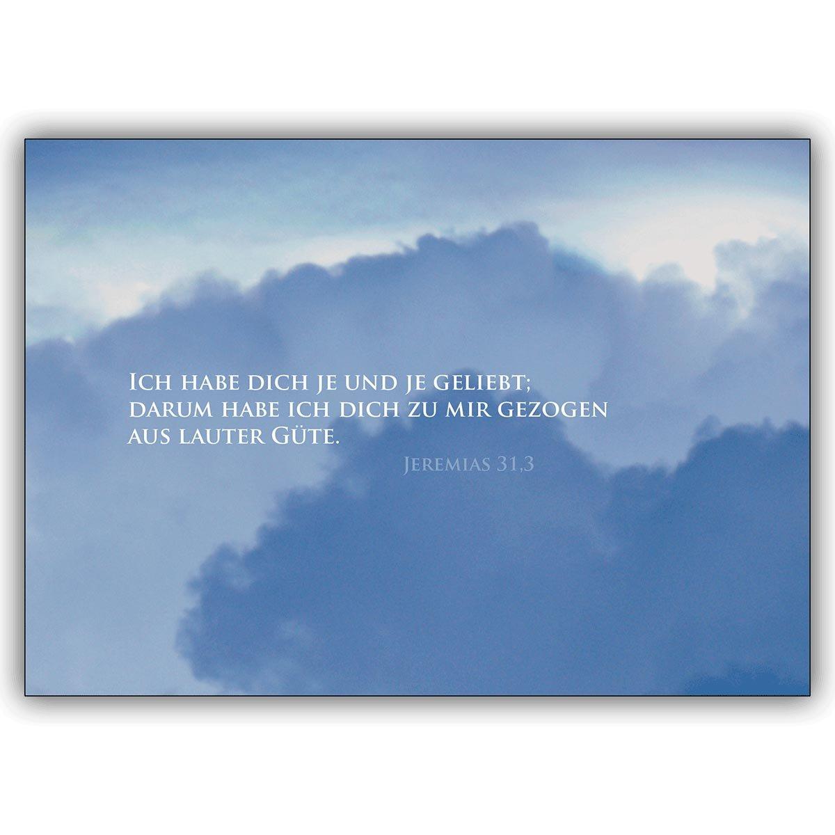Direkte Fertigung 12 Traueranzeigen  Wolken innen ihr ihr ihr Text. Motiv   Ich habe dich je und je geliebt...  den traditionell gestalteten Text drucken wir innen - nur Schrift auswählen zzgl 12 Papier Einleger weiß B00W7V8IWW | Schön geformt  e2551d
