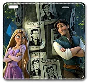 Cartoons Tangled Rapunzel Eugene Fitzherbert Flynn Rider Tree Leather Cover for iPhone 6 Plus 5.5 inch(Compatible with Verizon,AT&T,Sprint,T-mobile,Unlocked,Internatinal)