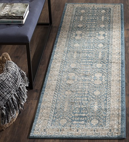 "Safavieh Sofia Collection SOF376C Vintage Blue and Beige Distressed Runner (2'2"" x 8') - The high-quality polypropylene pile fiber adds durability and longevity to these rugs The power loomed construction add durability to this rug, ensuring it will be a favorite for a long time The modern style of this rug will give your room a contemporary accent - runner-rugs, entryway-furniture-decor, entryway-laundry-room - 61GOm6KMOOL -"