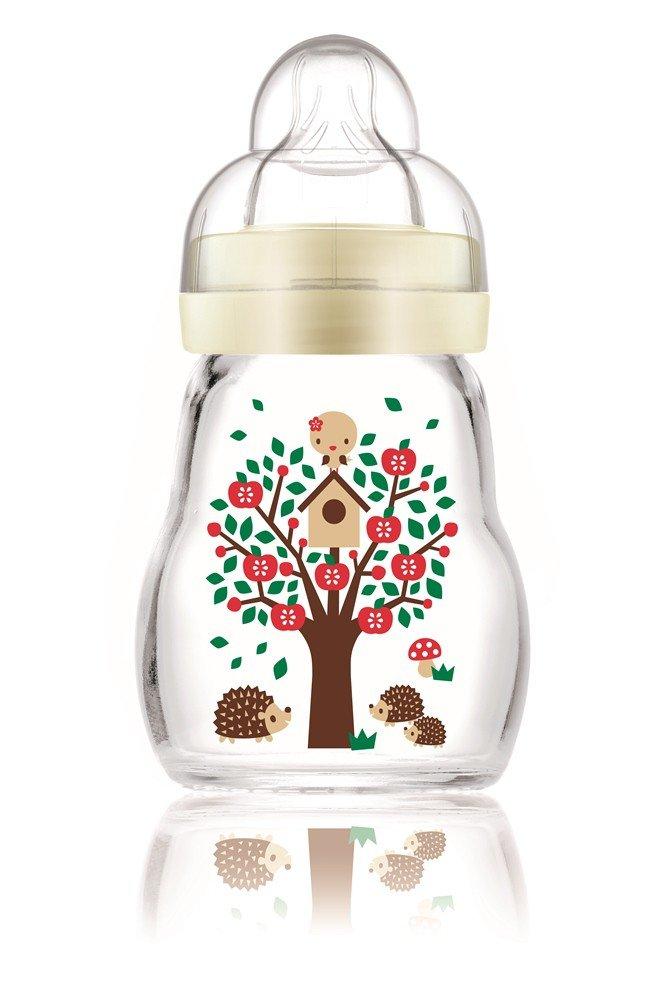 MAM 67037400 - Feel Good Glass Bottle 170 ml Glas Flasche farblich sortiert MAM Babyartikel