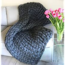 Chunky knit blanket Giant knitted throw Merino wool arm knitting throws King/Queen/Tween size Huge cozy super bulky blankets Christmas Gift (40*60 inches)