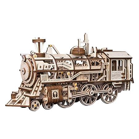 ROBOTIME Lokomotive mechanischer Baukasten - 3D Holzpuzzle Laser-Cut - Modellbaukasten mit Eigenantrieb - Brainteaser Geschen