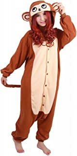 wotogold Animal Brown Monkey Pajamas Unisex Adult and Kids Cosplay Costumes