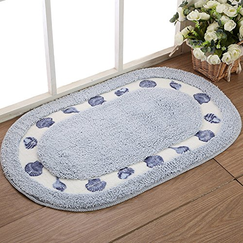 Sytian® Decorative Floral Rural Style Beautiful Seashell Shaggy Area Rugs Soft Non-slip Absorbent Doormat Floor Mat Bath Mat and Rugs Bathroom Shower Rug Mat Carpet (40*60cm, Oval) (Sky Blue)