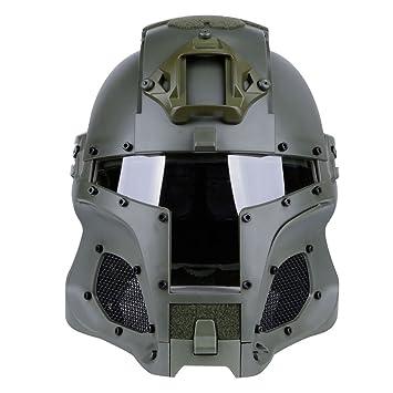 BSPAS WST Medieval Hierro Caballero Casco Táctico con Máscara y Gafas, Protecciones Casco para Airsoft