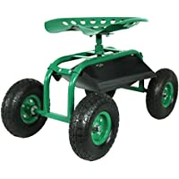 Sunnydaze Rolling Garden Cart with 360 Degree Swivel Seat & Tray - Color Options