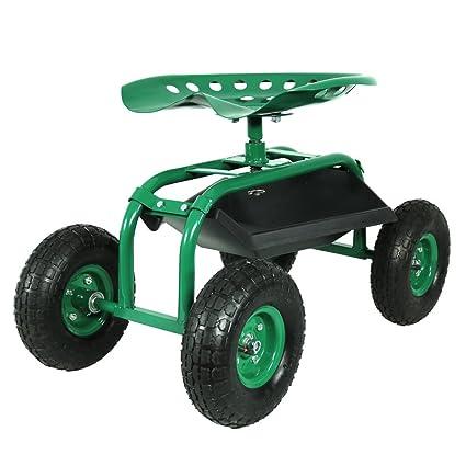 Merveilleux Sunnydaze Rolling Garden Cart With 360 Degree Swivel Seat U0026 Tray, Green