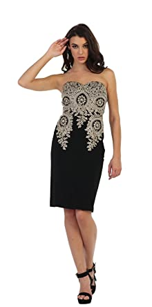 May Queen MQ1439 Stretchy Prom Short Fancy Dress (4, Black)