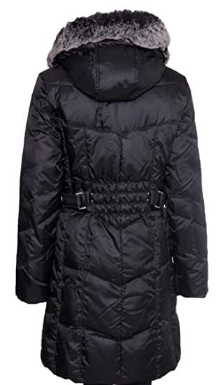 b6a8055c8 UTEX Women's Quilted Down Filled - Faux Fur Trim Hooded Coat - Black ...
