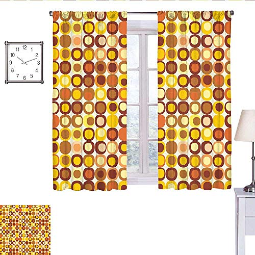 alisoso Mid Century Curtains for Living Room Kitsch and Retro Styled Round Edged Square Pattern in Old Earth Tones Drapes Panels Brown Yellow Coral W63 x L72
