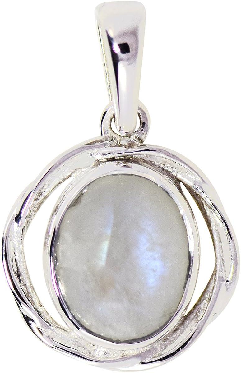 Shine Jewel Colgante ovalado de plata de ley 925 con piedra de luna del arco iris para mujer Piedra de la luna