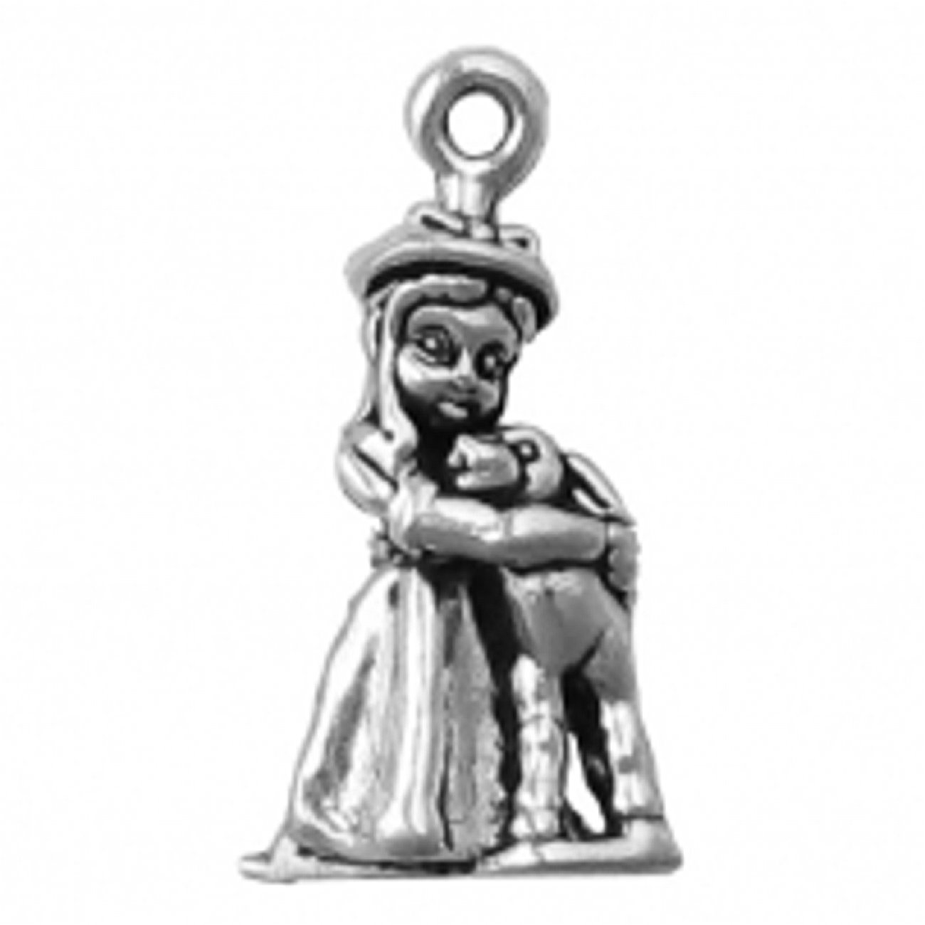 Sterling Silver Girls .8mm Box Chain 3D Little Girl Holding A Lamb Pendant Necklace
