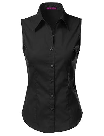 Amazon.com: LA BASIC Womens Sleeveless Button Down Shirts (S-3XL ...