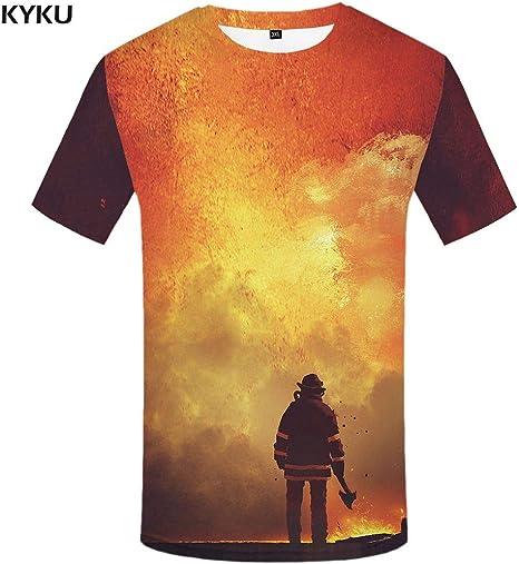 KYKU Camiseta Extraterrestre Hombres Camisetas de Metal Espacio 3D Camisetas Camisa de carácter Casual Imprimir Camiseta de Dibujos Animados Impreso Ropa para Hombre Hip Hop: Amazon.es: Deportes y aire libre