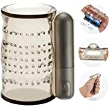 Vibrating Male Masturbator Cup Stroker Pocket Pussy with Bullet Vibrator, CHEVEN Crystal Open-Ended Realistic Tube Man…