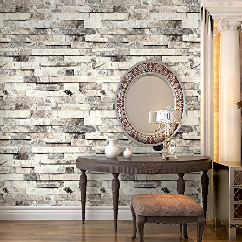 HaokHome 91301 Modern Faux Brick Stone Textured Wallpaper Roll Beige/Grey/Brown Brick Blocks Home Room Decoration 20.8