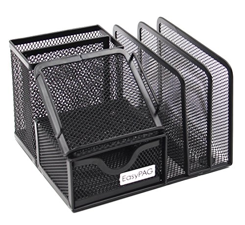 EasyPAG Mesh Office Supplies Desk Organizer Caddy with Drawer,6.5 x 5.5 x 4.25 inch,Black by EasyPag