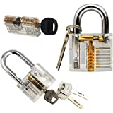3-Pack Practice Lock Set, Geepro Crystal Visible Cutaway of 3 Most Common Lock Types, For Locksmith Training Lock Pick Set,Includes 3 Different Types of Practice Padlock