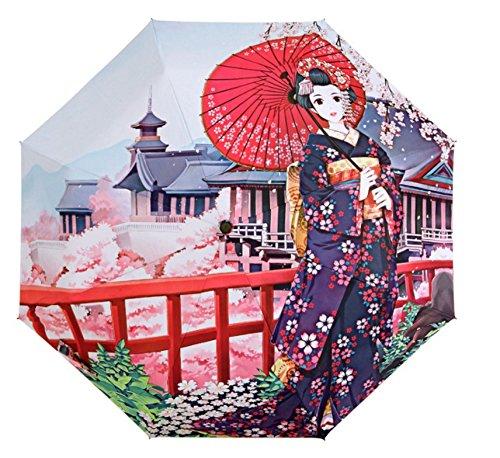Girl's Windproof Reverse Folding Umbrellas 3D Cherry Flower Rose Print Rainy Umbrellas women lady's Anti-UV Sunny Umbrella B452   B0719PZ7NB