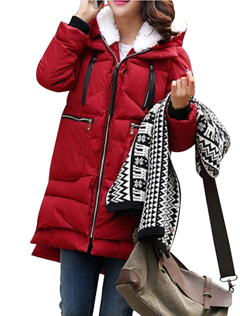 LD Womens Winter Thick Plus Size Military Hooded Parka Coat Puffer Jackets