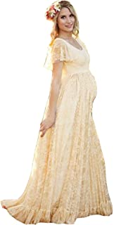 AGOGO Vestido de maternidad de la fotografía de gasa de encaje largo vestido embarazado elegante de