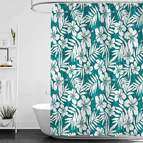 branddy Shower Curtains for Bathroom hookless Leaf,Abstract Hawaiian Exotic Hibiscus Flowers and Banana Palm Leaves Art Print,Petrol Blue and White W72 x L96,Shower Curtain for Bathroom