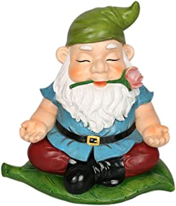 CCOQUS Zen Garden Gnome Statue,Yoga Gnome Figurine - Outdoor Lawn Patio Fairy Garden Decor (Green)