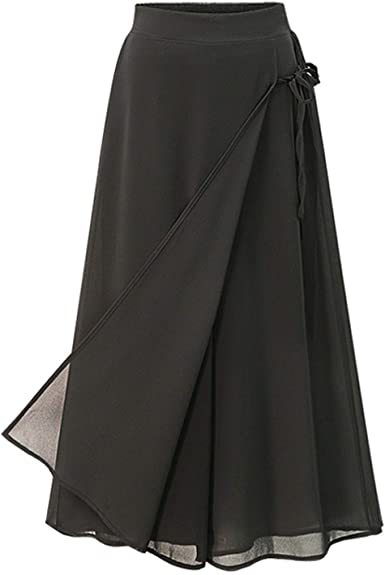 Women Large size Chiffon Trousers Casual  Pants Elastic Waist Divided Skirts