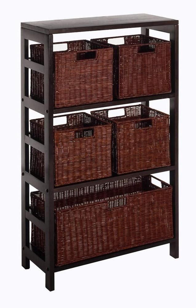 B000OCITCU Winsome Wood Leo 6pc Shelf and Baskets; Shelf, 4 Small and 1 Large Baskets; 3 cartons 61GOrZyw-JL.SL1000_
