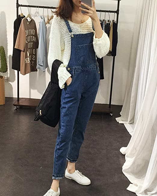 a529ec300a9 Quge Womens Dungaree Skinny Jeans Trousers Overall Sleeveless Casual  Jumpsuit  Amazon.co.uk  Clothing