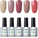 FairyGlo Smalti Semipermanenti per Unghi in Gel UV e Base/Top Coat Colore Nudo- il Kit 4 Pz 10ml-036