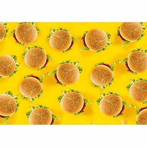 Allenjoy 7x5ft Polyester Photography backdrops Banner Yellow Birthday Party Hamburger Party Lemon Party Background for Restraunt Burger Shop - Equipment Restraunt