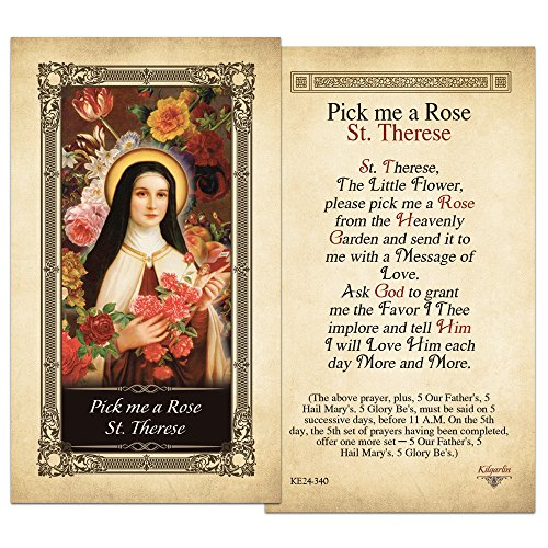 Pick me a Rose St. Therese Laminated Holy Card - Pack of -