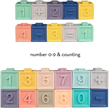Baby Teether Toys Sunarrive Soft Building Blocks for Babies Toddlers 6 9 12 Months 1 2 Year Old Montessori Learning Sensory Stacking Toys for Infant