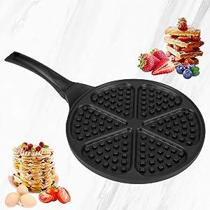 Waffle Pan,Ejoyway 10.4'' Nonstick Waffle Maker Stovetop Waffle Iron Cast Aluminum Waffle Baking Plates Waffle Mold Bakeware Easy to Make Waffles with Heat-insulation Handle …