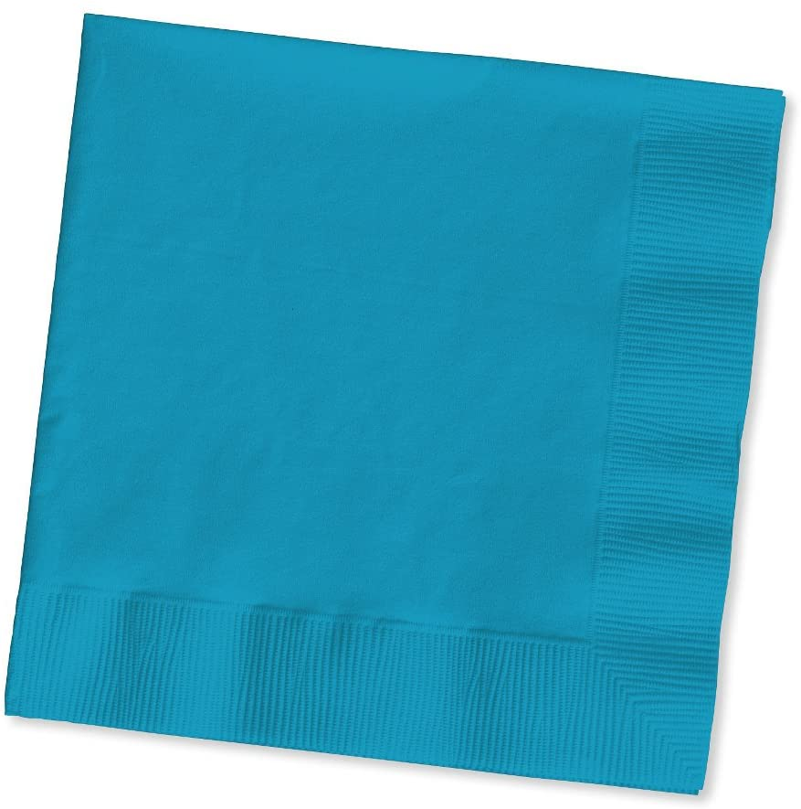 Creative Converting Touch of Color 2-Ply 50 Count Paper Beverage Napkins, Turquoise