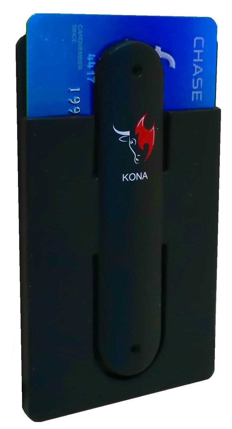 Kona Phone Sleeve Credit Card Holder - Universal Silicone Stick On Card Case With Phone Stand