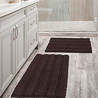 Extra Thick Chenille Striped Pattern Bath Rugs for Bathroom Non Slip - Soft Plush Shaggy Bath Mats for Bathroom Floor…