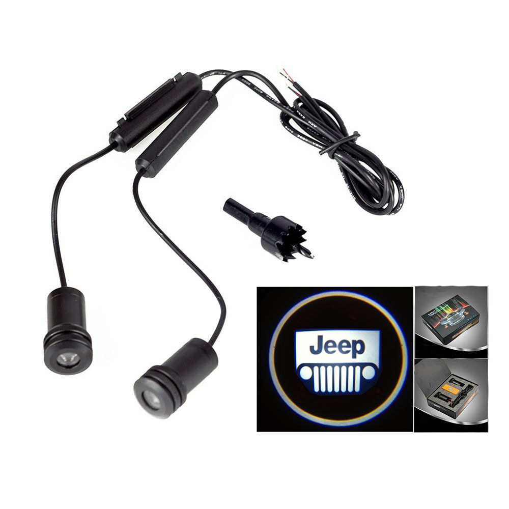 Lupar 5w 4th Generation 2x LED Car Door Laser Projector Ghost Shadow Step Light Logo (Fits: Jeep) LPDP-025-JEEP