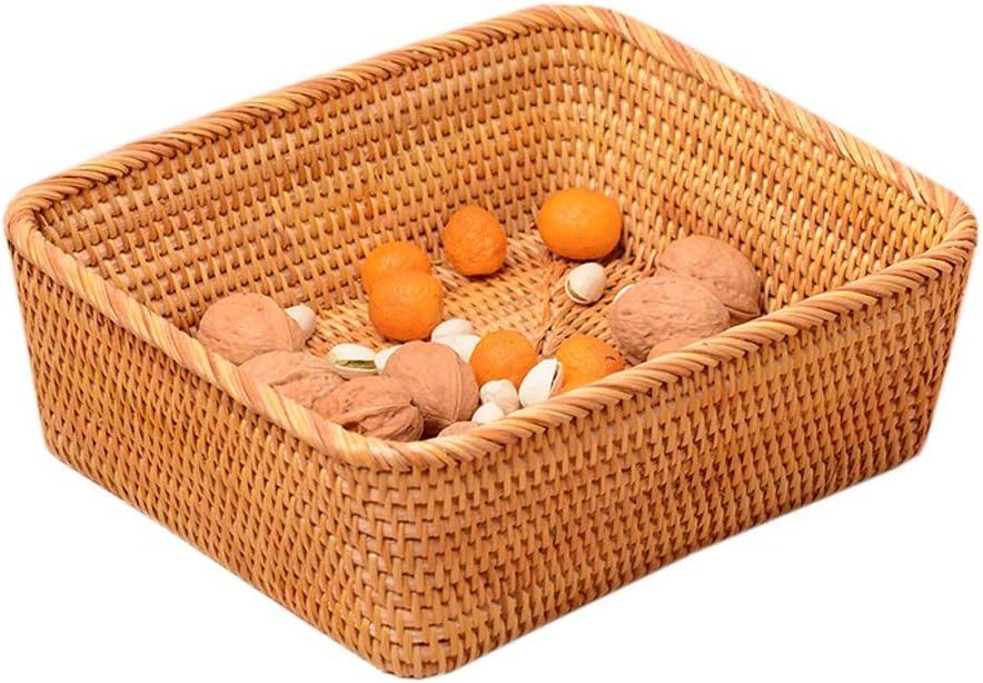Rattan Basket Tea Set Storage Tray Snacks Dried Fruit Fruit Plate Coffee Table Desktop Storage Basket Cosmetic Storage (Size : 28cmX25cmX9cm)