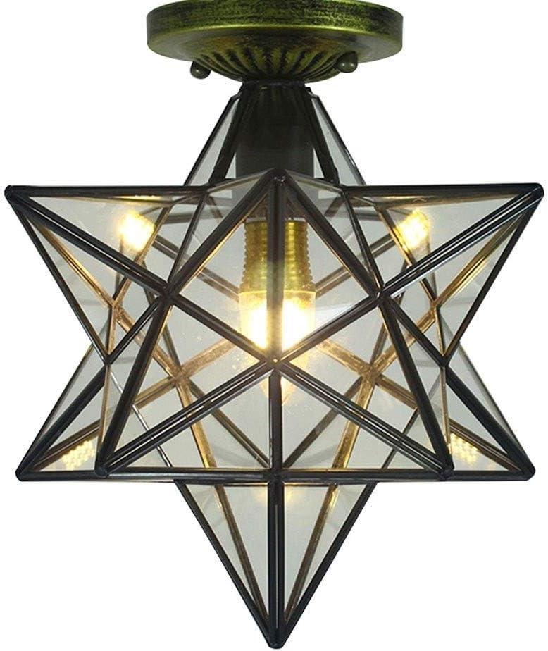Cuerpo de iluminaci/ón de techo de cinco puntas de la estrella de cristal transparente simple Corredor Balc/ón Ara/ña Porche Sala de estar moderna iluminaci/ón de techo Habitaci/ón Sal/ón de techo de la sal